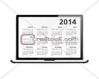 2014 Calendar in Laptop