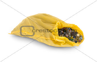 Assorted black glass marbles arranged in a yellow pouch