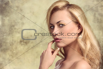 close-up of sexy blonde woman