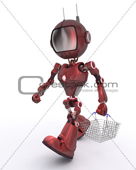 Android with shopping basket