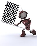 Android waving chequered flag