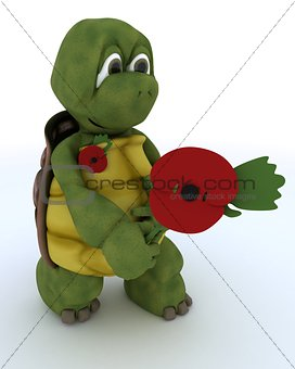 tortoise with poppy in rememberance