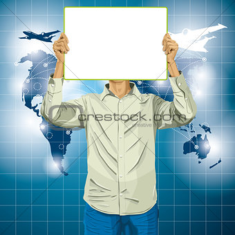 Man With Write Board Against His Head