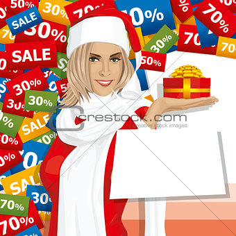 Vector Woman Waiting For Christmas