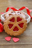 festive cookies decorated with Jelly hearts - romantic gift
