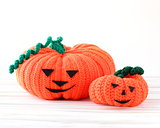 two funny Halloween orange pumpkin Jack O'Lantern