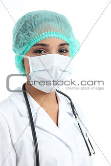 Female doctor with a surgical mask