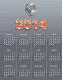 Calendar for 2014 with globe