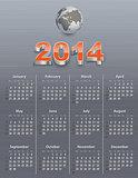 Calendar for 2014 with globe