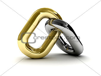 Chain link isolated on white background.
