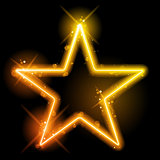 Glowing Neon Yellow Orange Star