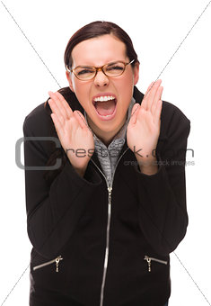 Angry Mixed Race Businesswoman Yelling at Camera Isolated on Whi