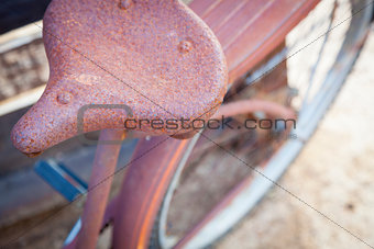 Abstract of Old Rusty Antique Bicycle Seat
