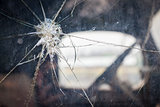 Cracked Window Glass on Antique Truck Abstract