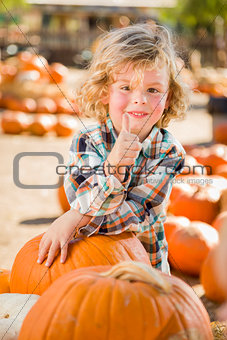 Little Boy Gives Thumbs Up  at Pumpkin Patch