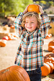 Little Boy Holding His Pumpkin at a Pumpkin Patch