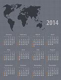 Calendar 2014 world map linen texture