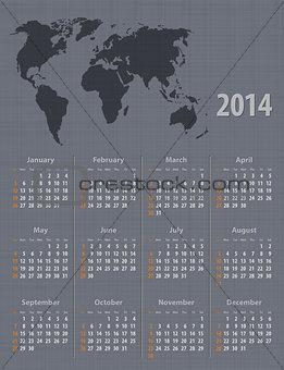 Calendar 2014 world map linen texture