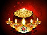 Diwali Background With Deepak Set