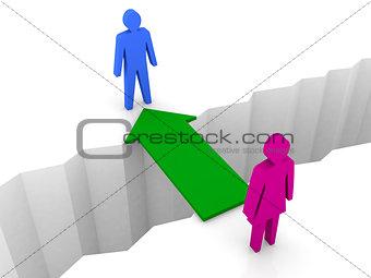 Bridge from woman to man through separation crack.