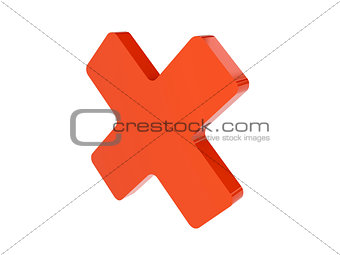 Cross icon over white background.