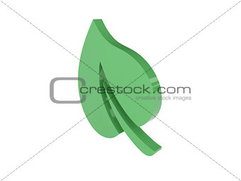 Green leaf icon over white background.