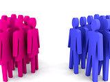 Groups of men and women.