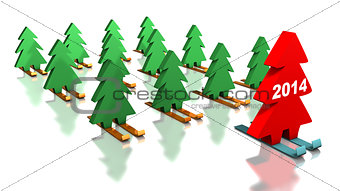 Green Christmas trees skiing with the red leader