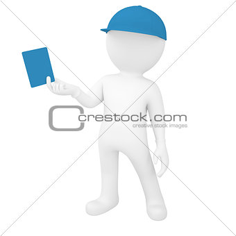 3d white man holding card