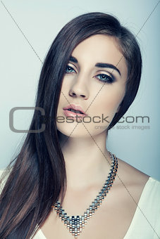 beautiful high key girl with long hair