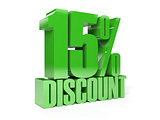 15 percent discount. Green shiny text.