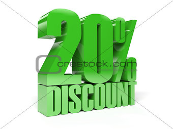 20 percent discount. Green shiny text.