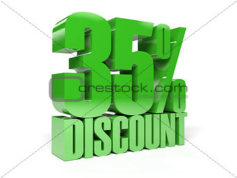 35 percent discount. Green shiny text.
