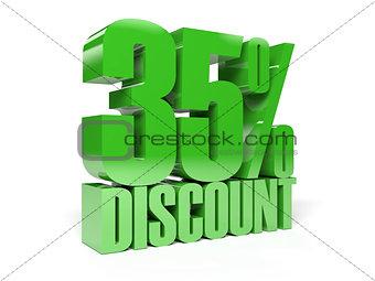35 percent discount. Green shiny text.