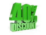 40 percent discount. Green shiny text.