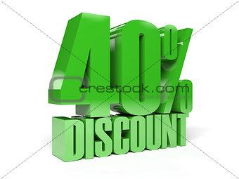 40 percent discount. Green shiny text.