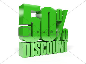 50 percent discount. Green shiny text.