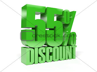 55 percent discount. Green shiny text.