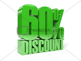 60 percent discount. Green shiny text.