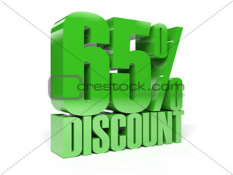 65 percent discount. Green shiny text.