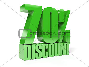 70 percent discount. Green shiny text.