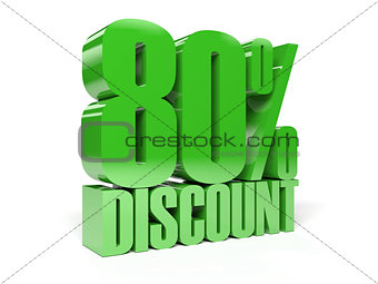 80 percent discount. Green shiny text.