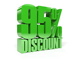 95 percent discount. Green shiny text.