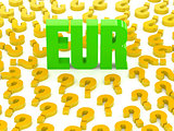 EUR sign surrounded by question marks.
