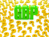 GBP sign surrounded by question marks.