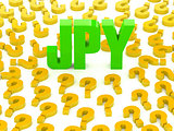 JPY sign surrounded by question marks.