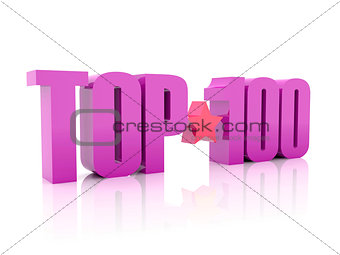 Top hundred violet word isolated on white background.