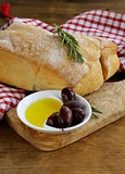 ciabatta bread, olive and oil