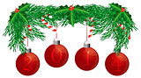 Christmas Tree Garland with 2014 Ornaments Isolated Illustration
