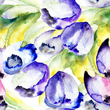 Spring Tulips flowers watercolor illustration